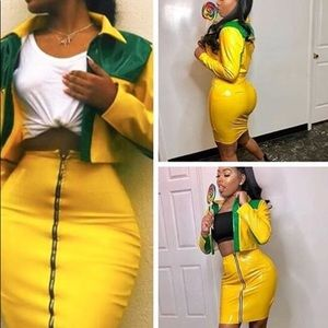 b142431e0c Dresses & Skirts - MONEY BAG 2 PIECE SKIRT AND CROP TOP JACKET latex
